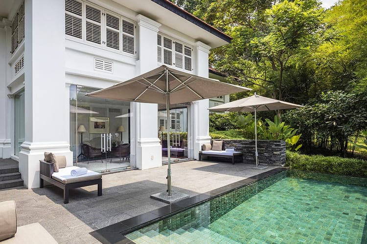 Private pool with terrace at Capella Singapore