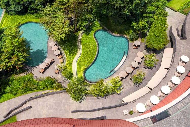 Outdoor pools at Capella Singapore