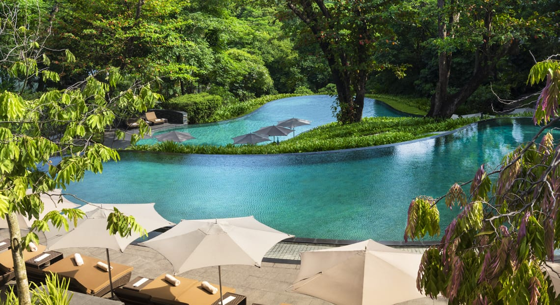 Outdoor pool at Capella Singapore