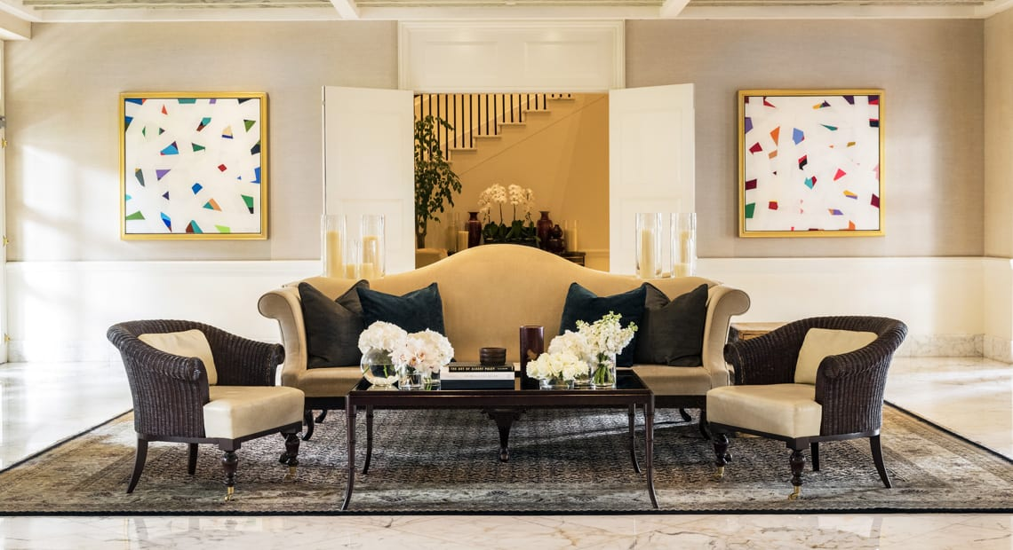 Living room with sofas at Capella Singapore