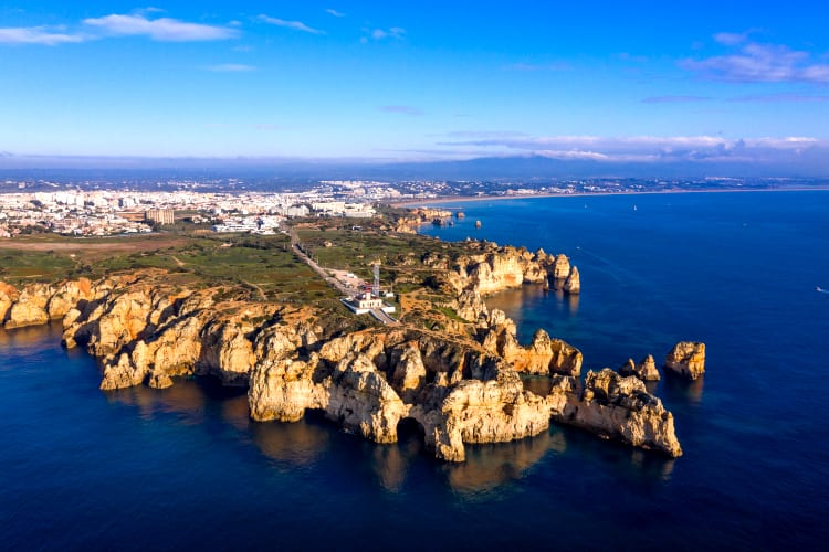 Panoramic view of Ponta Da Piedade in Portugal