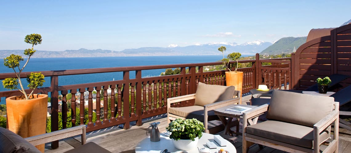 The view of the Lac Leman from Royal Evian Hotel