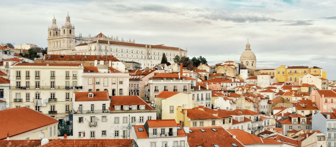 Panoramic view on Lisbon's oldest district: Alfama