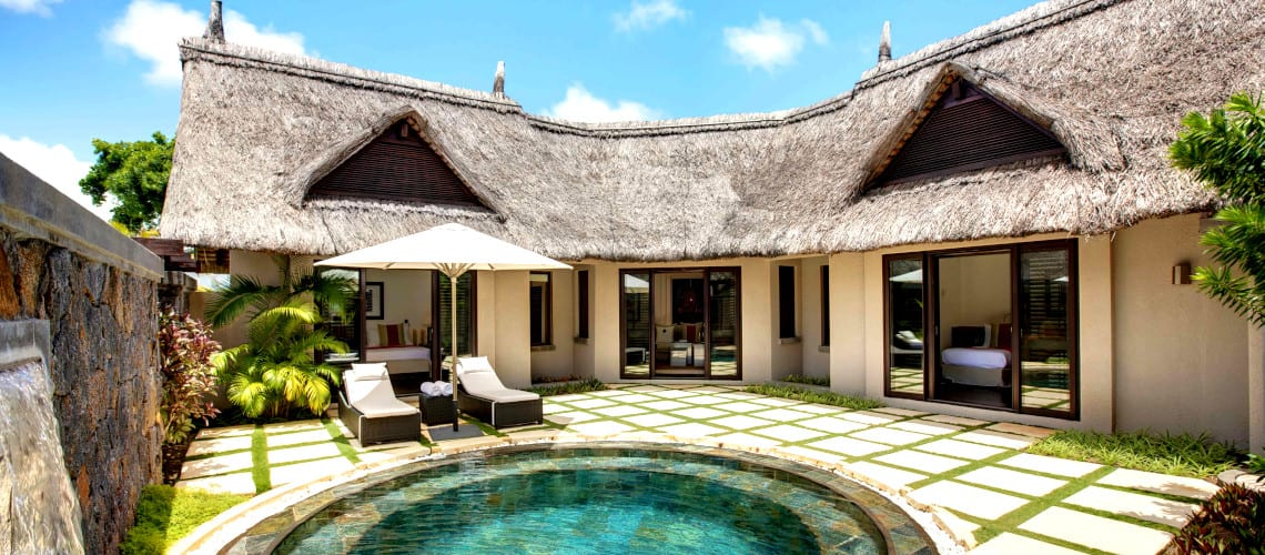 Private terrace and outdoor pool at the LUX* Belle Mare On the East coast of Mauritius