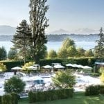 La Reserve Geneve sunny terrace with lake view