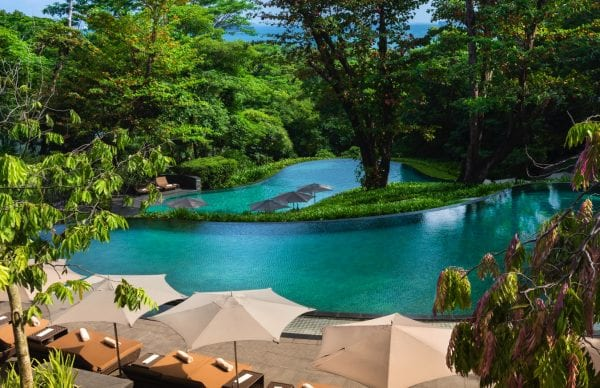 Outdoor pool of Capella Singapore
