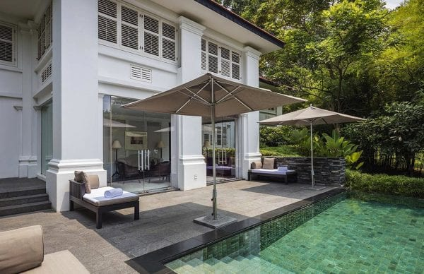 Private outdoor pool and terrace at Capella Singapore