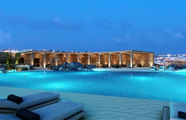 Oniro Mykonos Pool by night