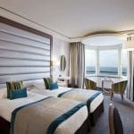 Grand Hôtel des Thermes double bedroom with sea view and balcony