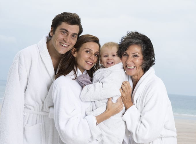 Family enjoys the spa at the Grand Hotel des Thermes in Saint Malo