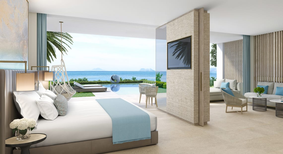 One of the Ikos Andalusia bedrooms with a view overlooking the sea