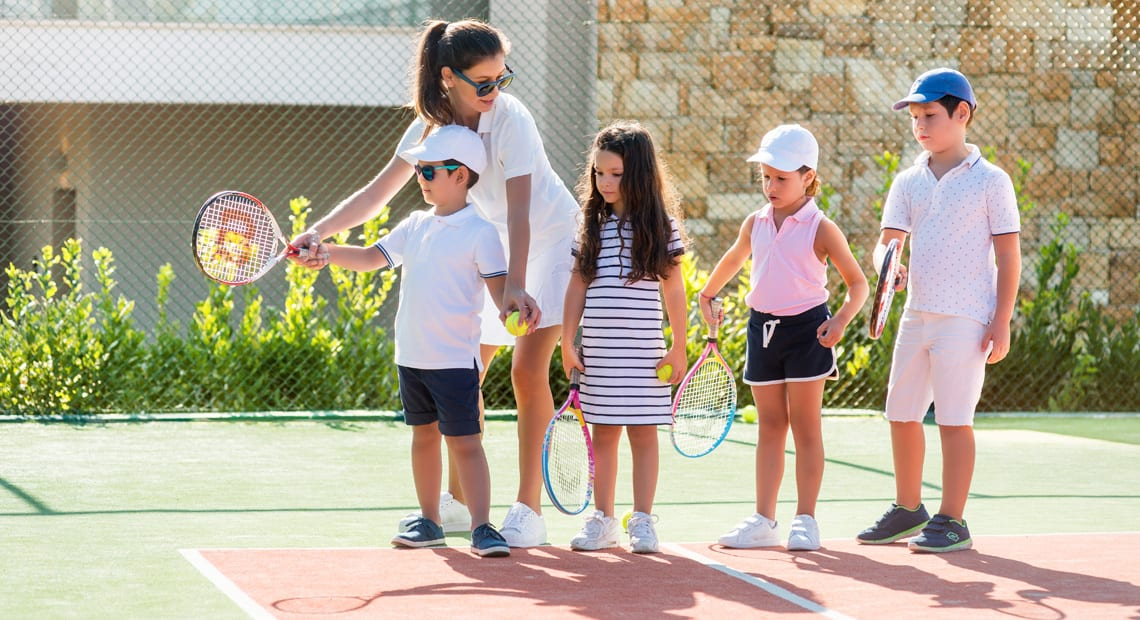 Tennis lesson at the Ikos Andalusia resort