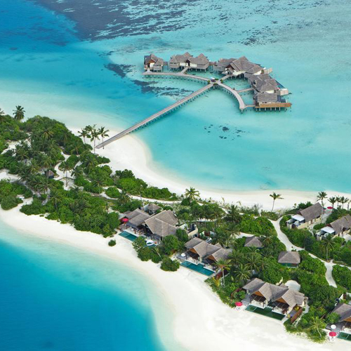 Aerial view on the Maldives hotel atolls