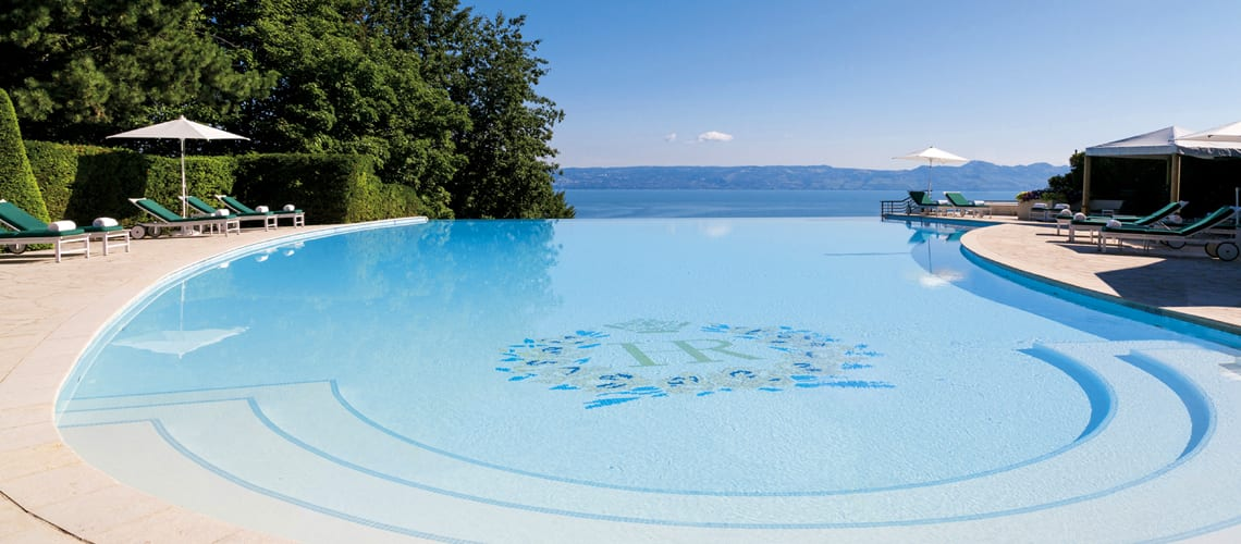 The superb panoramic outdoor pool at the Royal Evian hotel