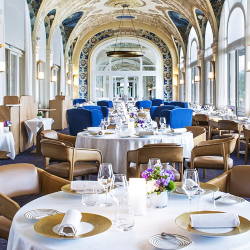The wonderful Michelin-Starred Les Fresques Restaurant at Hotel Royal Evian