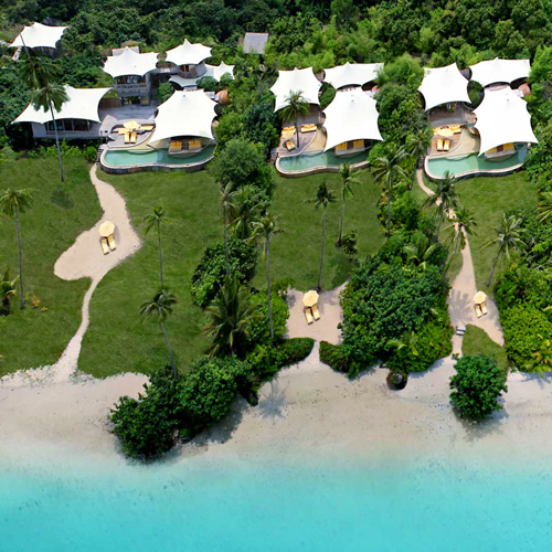 Aerial view on the Soneva Kiri hotel in Thailand