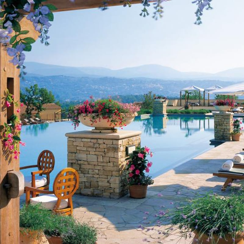 The amazing panoramic outdoor pool at Terre Blanche Hotel Spa Golf Resort