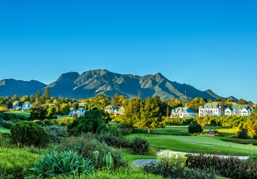 Fancourt Hotel aerial view, family luxury hotel in South Africa