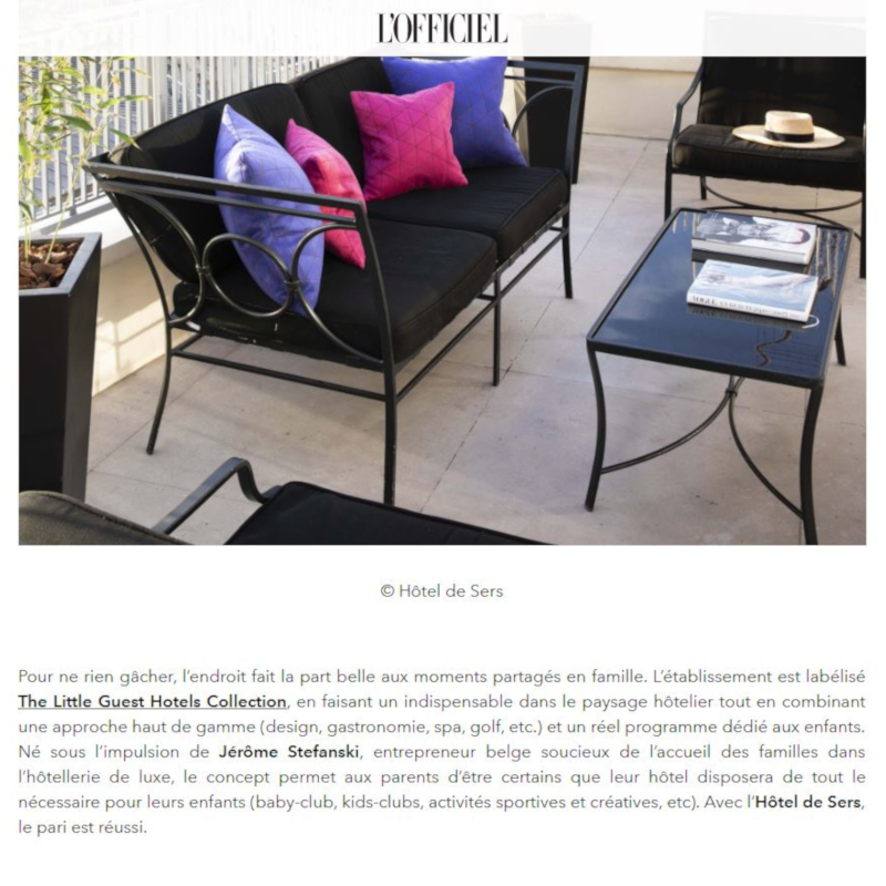 Little Guest Hotels Collection L'Officiel Press Article Hotel de Sers Paris
