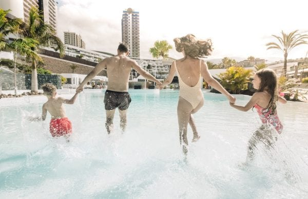 Little Guest Hotels Collection Tenerife Family Entering Water