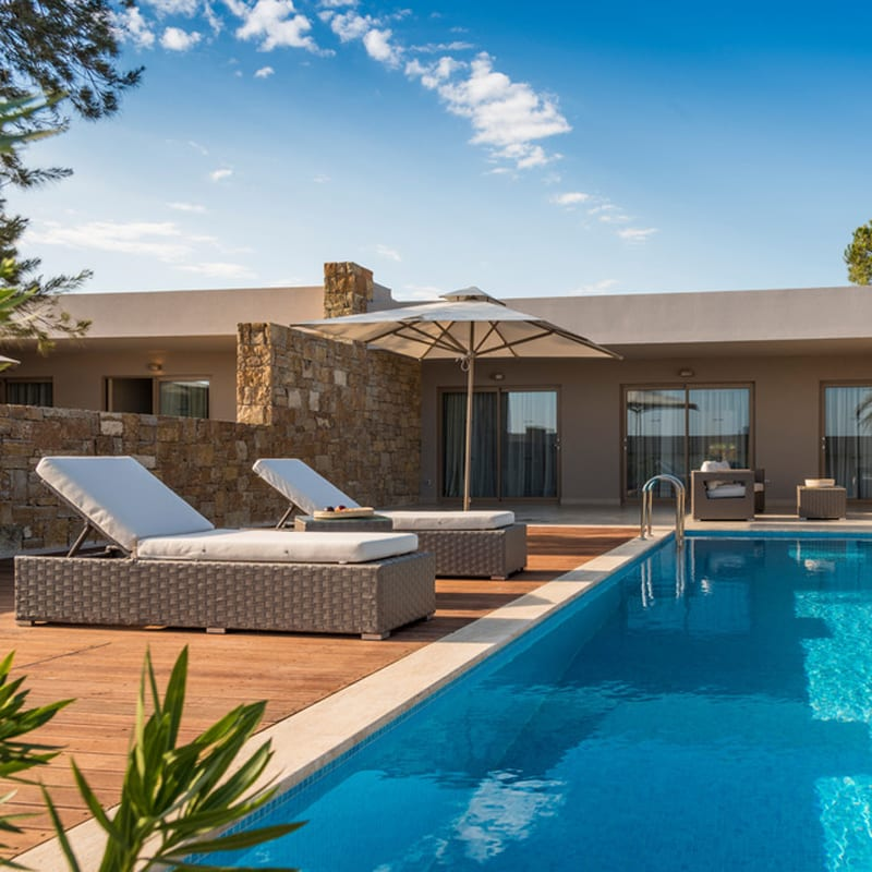 The superb villa with private pool at IIkos Olivia hotel in Greece