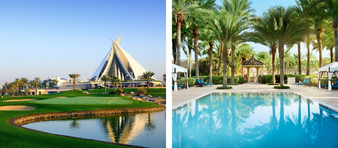 Dubai Creek golf and One and Only Royal Mirage in Dubai