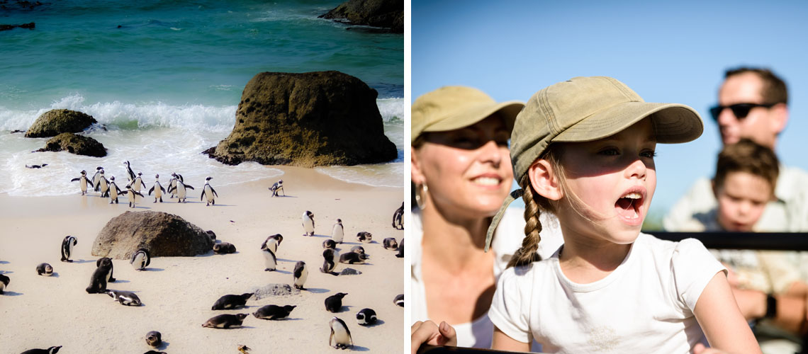 Boulder's Beach to the left ; A Girl amazed by South Africa's beauty