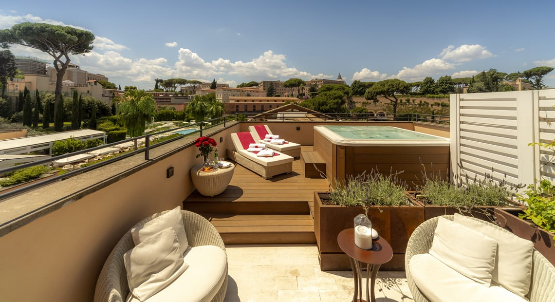 Private terrace at Gran Melia Rome Villa Agrippina in Italy