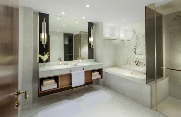 Grand Hyatt Dubai suite with marble bathroom