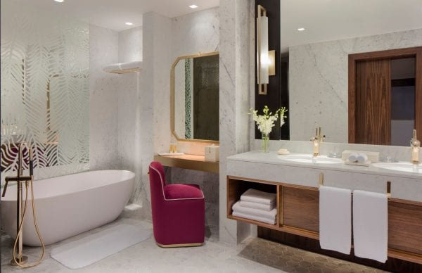 Grand Hyatt Dubai white marble bathroom