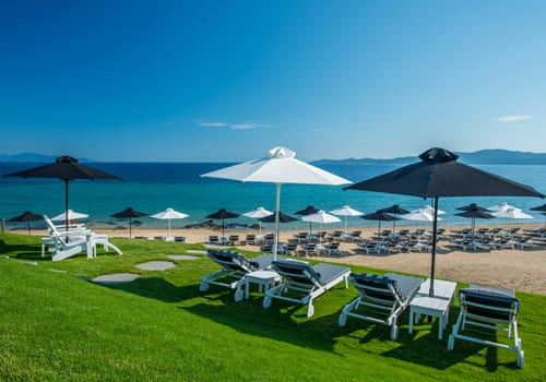 The amazing beach of the Avaton Luxury Villas Resort in Halkidiki in Greece