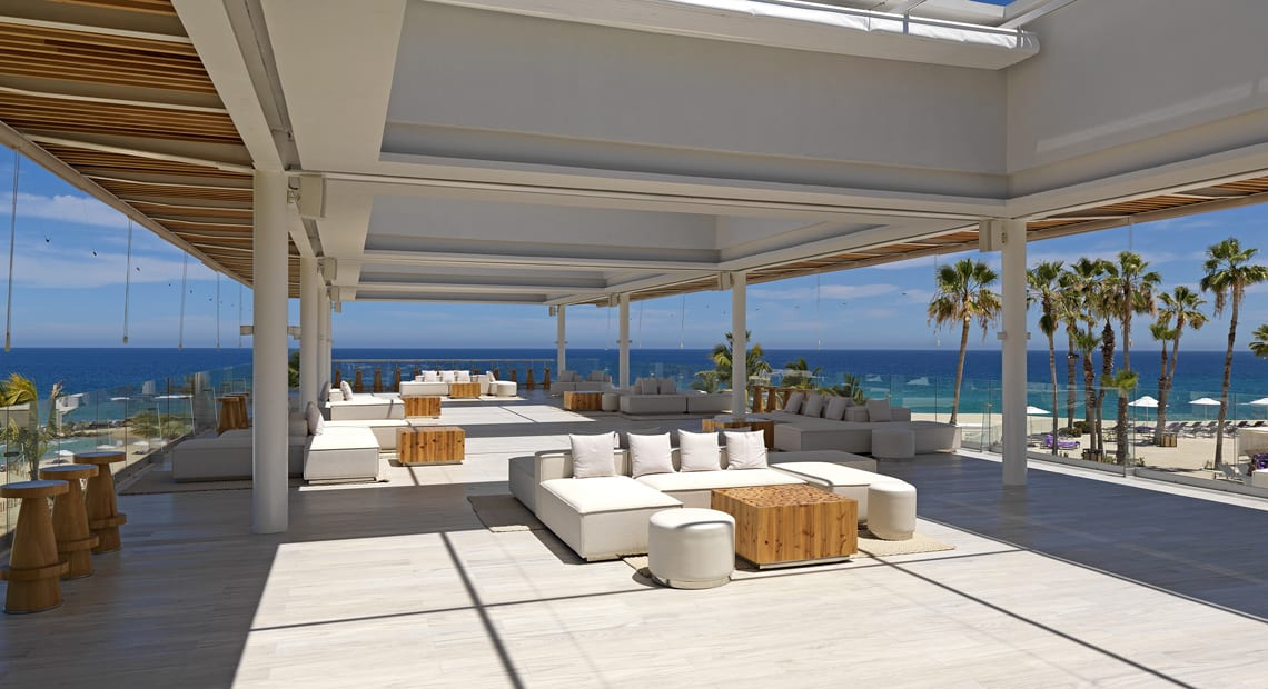 Terrace and restaurant at Paradisus Los Cabos Resort in Mexico