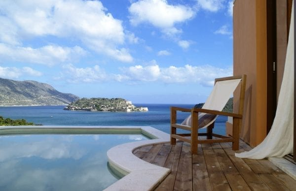 Stunning view from a terrace with pool