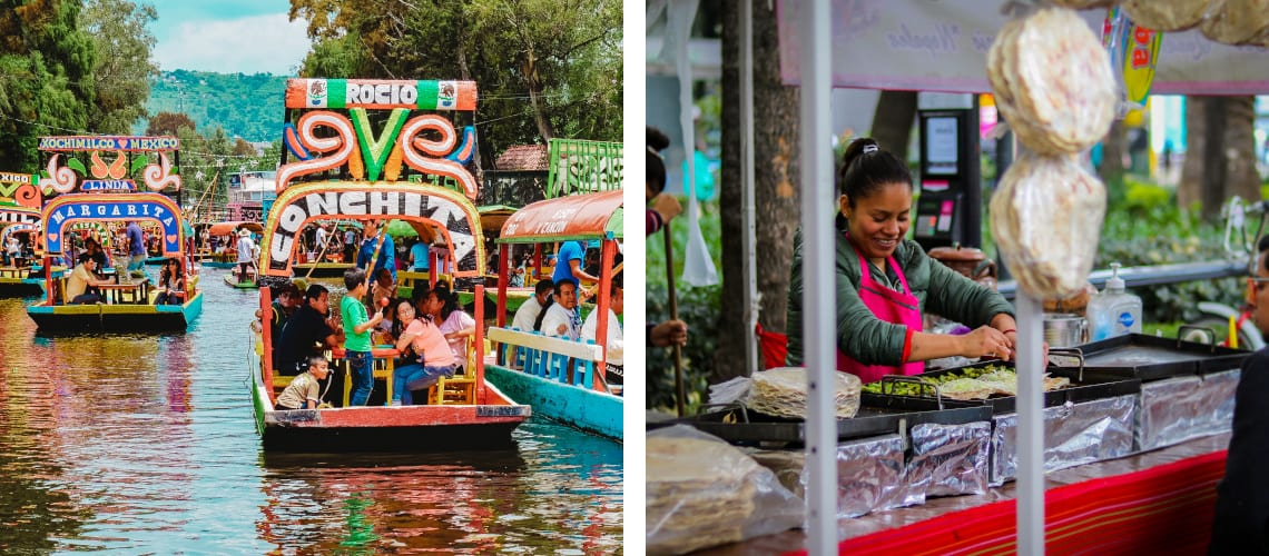 Xochimilco and a typical Mexican market