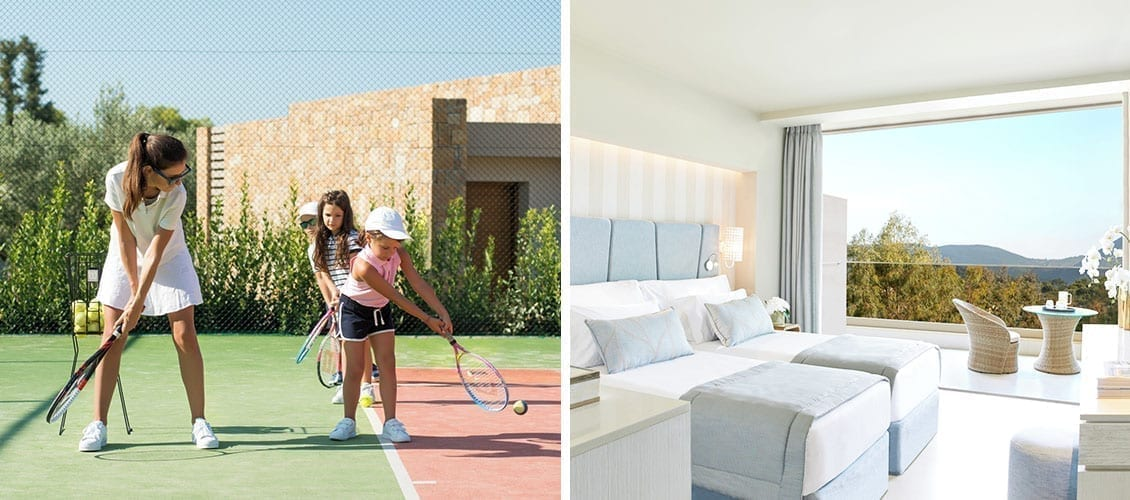 Single-parent-families-vacations playing tennis with kids