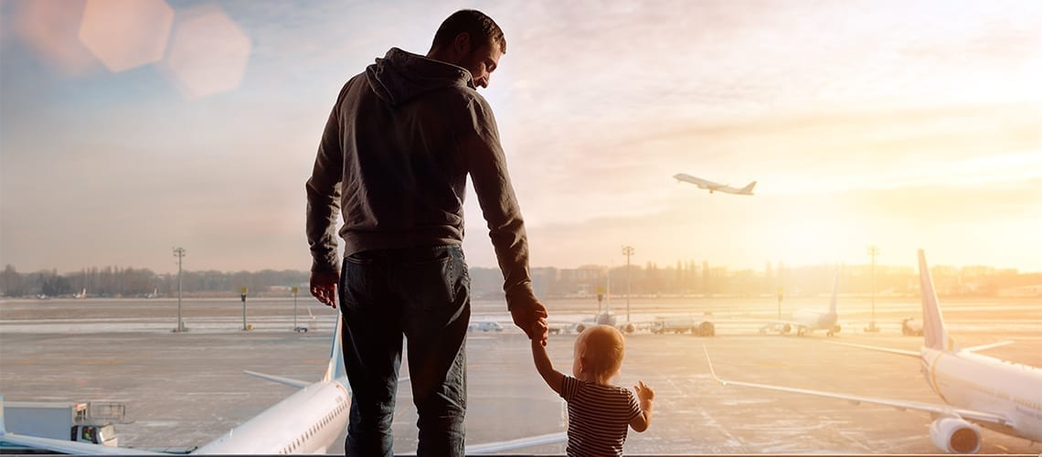 father and child airport