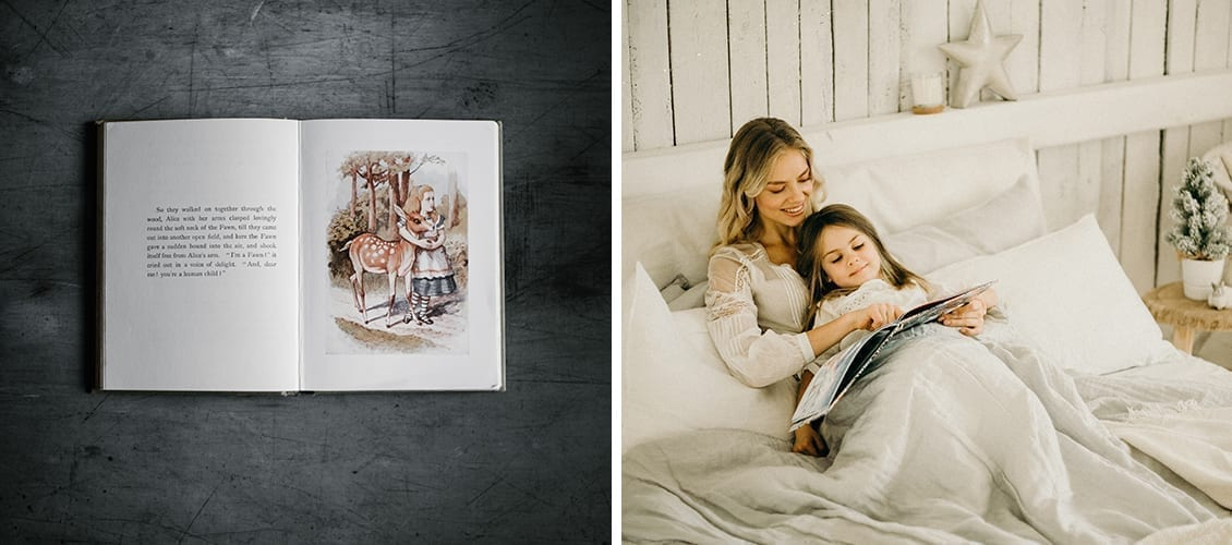Alice in the wonderland and a mom reading a book to her daughter