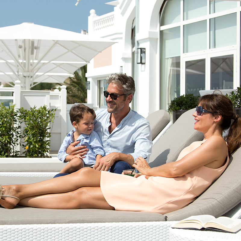 family enjoying the sun at Grand Hotel Thalasso & Spa