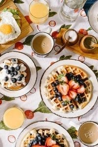 cook with little guest brunch with pancakes