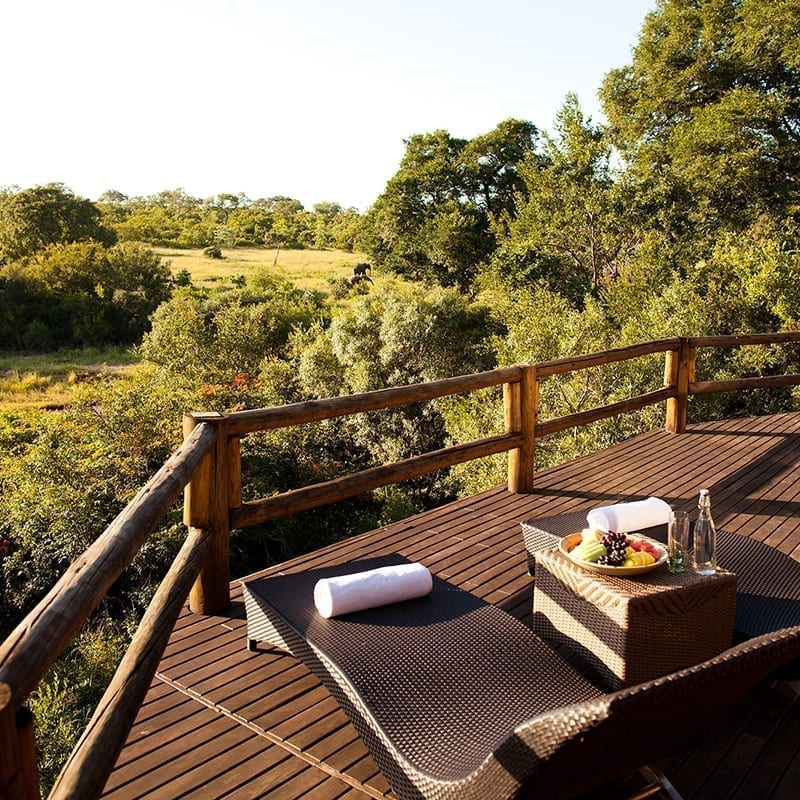 Ulusaba Private Game Reserve terrace with view on the reserve